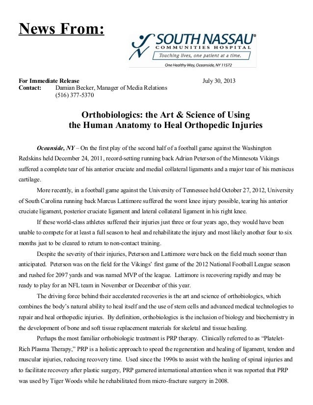 News From: For Immediate Release July 30, 2013 Contact: Damian Becker, Manager of Media Relations (516) 377-5370 Orthobiol...