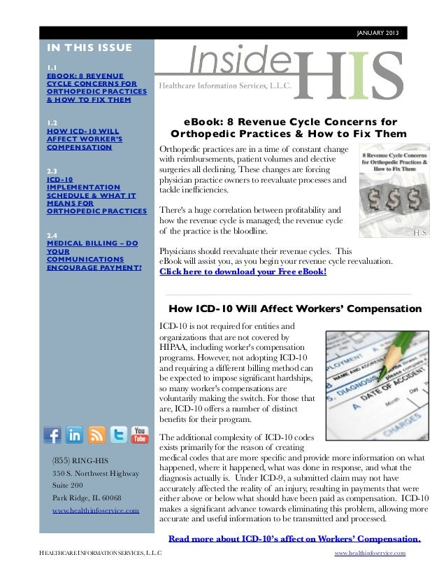 JANUARY 2013  IN THIS ISSUE  1.1  EBOOK: 8 REVENUE  CYCLE CONCERNS FOR  ORTHOPEDIC PRACTICES  & HOW TO FIX THEM  1.2      ...