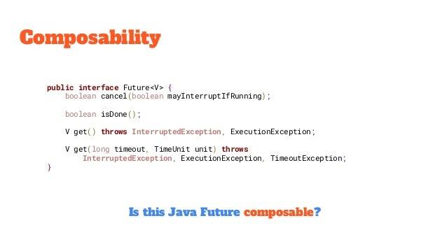 Composability public interface Future<V> { boolean cancel(boolean mayInterruptIfRunning); boolean isDone(); V get() throws...