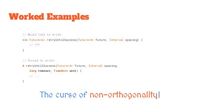Worked Examples The curse of non-orthogonality! // Would like to write: <A> Future<A> retryUntilSuccess(Future<A> future, ...