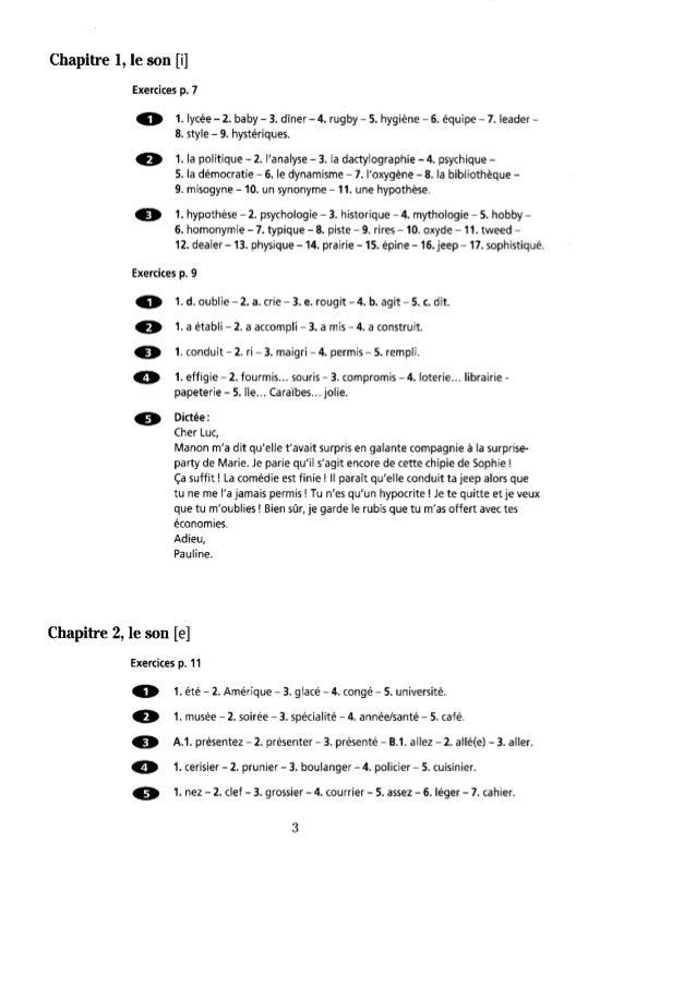Orthographe progressive du français  niveau intermédiaire- corrigés Slide 2
