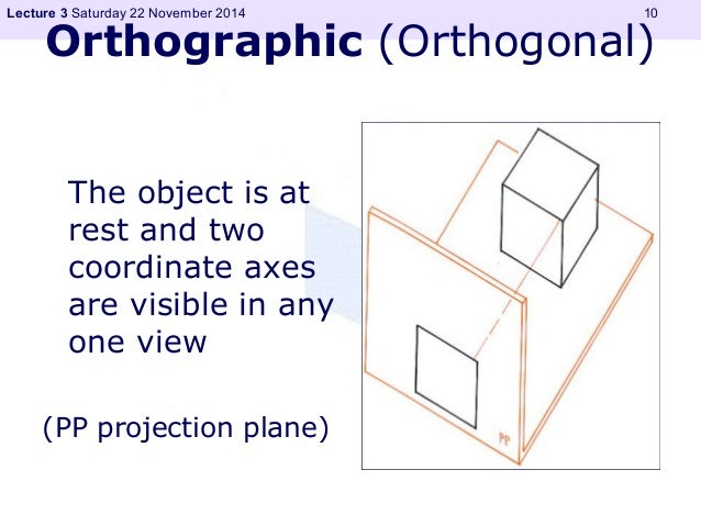 Lecture 3 Saturday 22 November 2014 10  Orthographic (Orthogonal)  The object is at  rest and two  coordinate axes  are vi...
