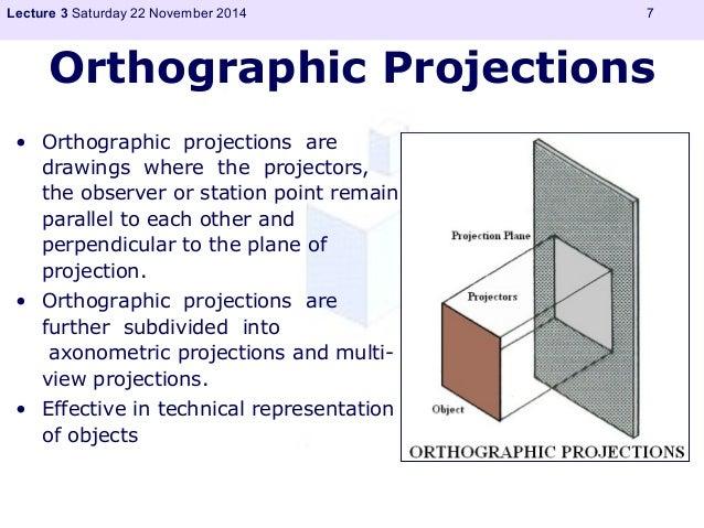 Lecture 3 Saturday 22 November 2014 7  Orthographic Projections  • Orthographic projections are  drawings where the projec...