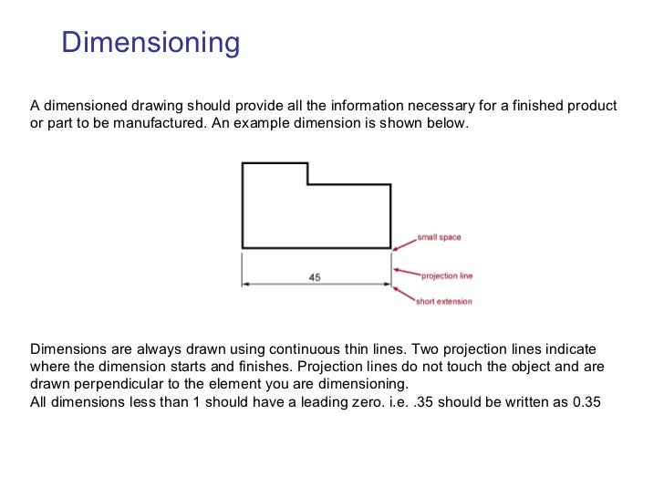 Dimensioning A dimensioned drawing should provide all the information necessary for a finished product or part to be manuf...