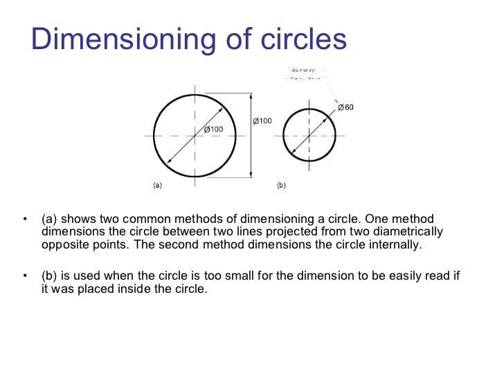 Dimensioning of circles <ul><li>(a) shows two common methods of dimensioning a circle. One method dimensions the circle be...