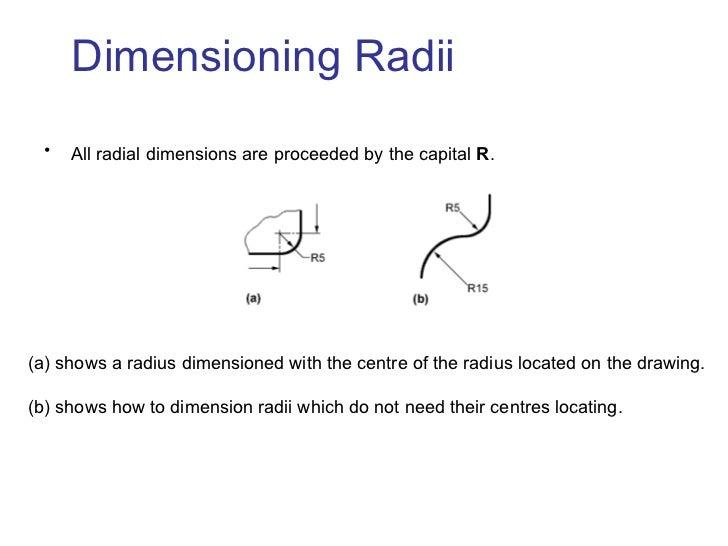 Dimensioning Radii <ul><li>All radial dimensions are proceeded by the capital  R .   </li></ul><ul><li>shows a radius dime...