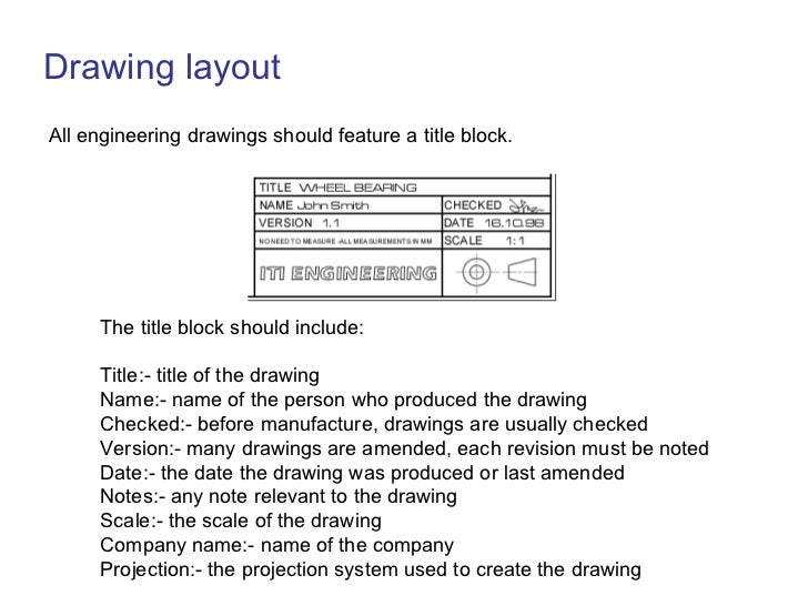 Drawing layout <ul><li>All engineering drawings should feature a title block.   </li></ul>The title block should include: ...