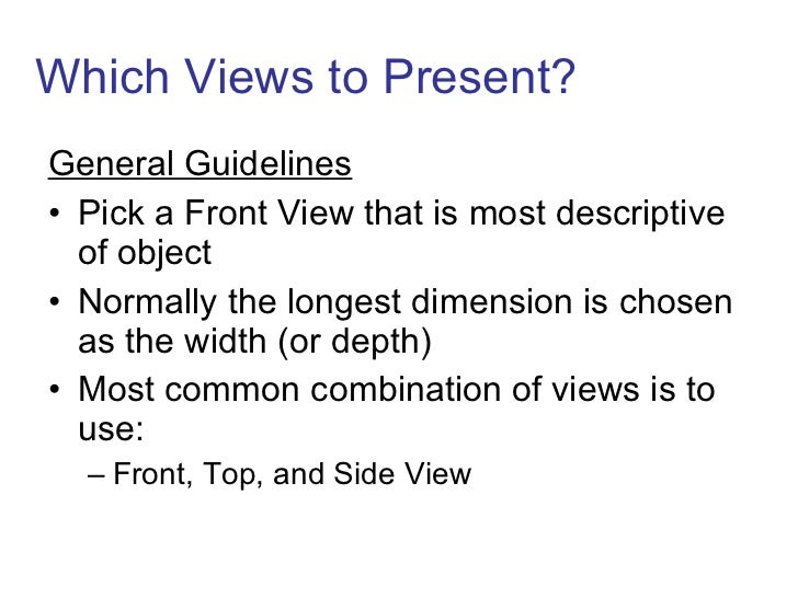 Which Views to Present? <ul><li>General Guidelines </li></ul><ul><li>Pick a Front View that is most descriptive of object ...