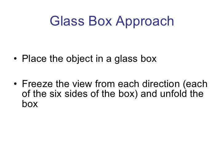 Glass Box Approach <ul><li>Place the object in a glass box </li></ul><ul><li>Freeze the view from each direction (each of ...