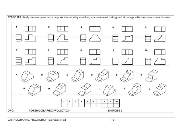 Orthographic projection exercises – Orthographic Projection Worksheet