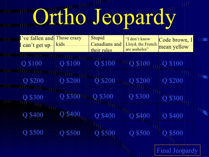 "Ortho Jeopardy I've fallen and I can't get up Those crazy kids Stupid Canadians and their rules "" I don't know Lloyd, the ..."