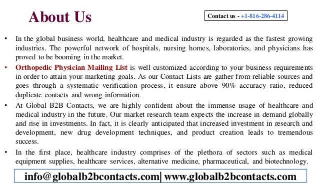 Orthopedic Physician Mailing List Slide 2
