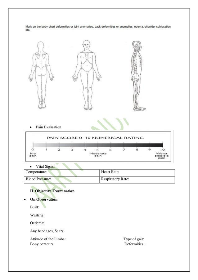 Orthopedic physiotherapy evaluation form wm