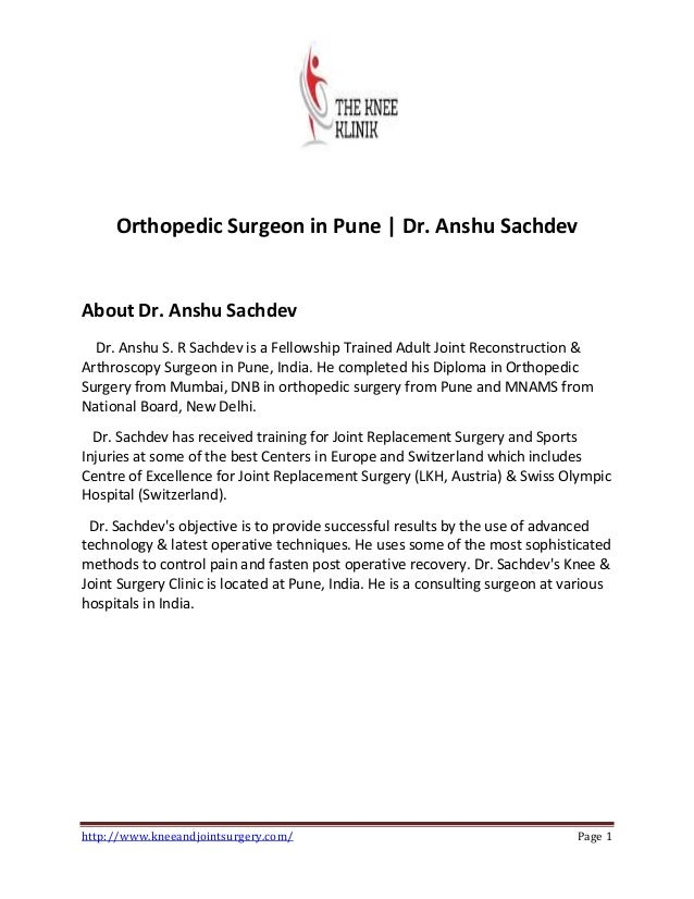 Best Orthopaedic surgeon in Pune | Dr Anshu Sachdev