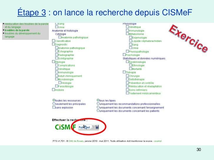 Étape 3 : on lance la recherche depuis CISMeF                                                30