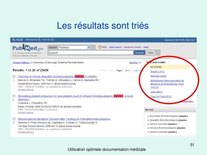 Les résultats sont triés                                                51  Utilisation optimale documentation médicale