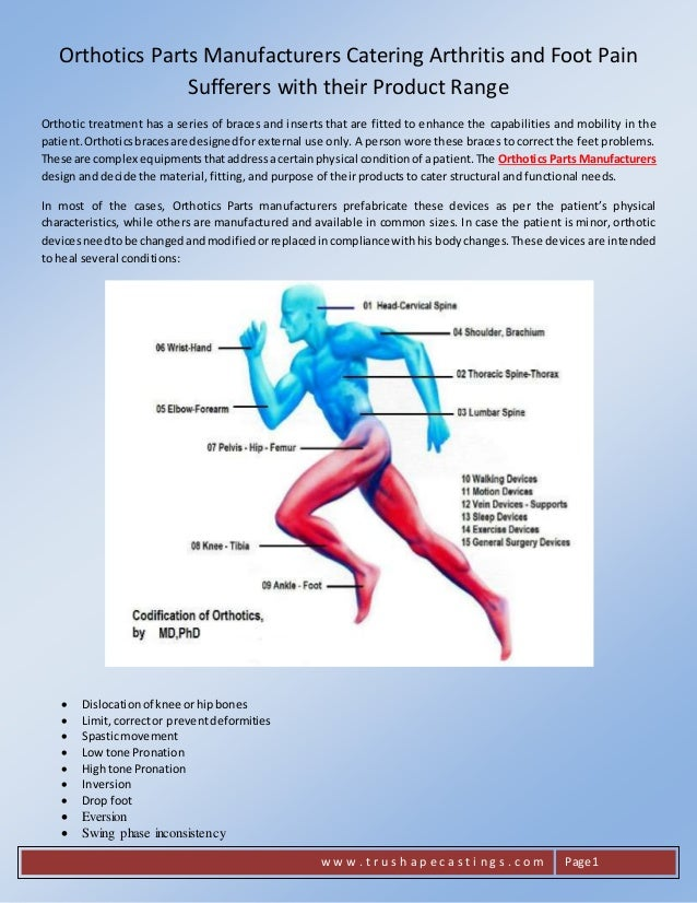 Orthotics Parts Manufacturers Catering Arthritis And Foot Pain Suffer