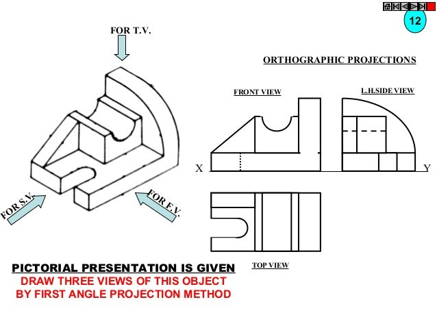 12  FOR T.V.  ORTHOGRAPHIC PROJECTIONS FRONT VIEW  X  R FO  . S.V  FO R  Y  F. V.  PICTORIAL PRESENTATION IS GIVEN DRAW TH...