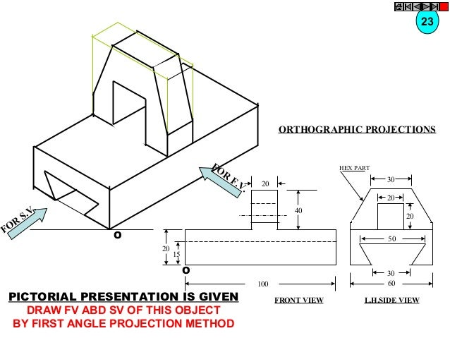23  ORTHOGRAPHIC PROJECTIONS FO R  R FO  HEX PART  F. V.  30  20  20  . S.V  40  O  20 50  20  15  O  30 60  100  PICTORIA...