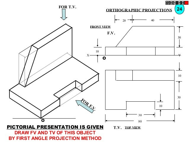 FOR T.V.  ORTHOGRAPHIC PROJECTIONS  24  40  20 FRONT VIEW  F.V. 30  10 X  Y  O  10  FO R  30  F. V.  10 30  O  PICTORIAL P...