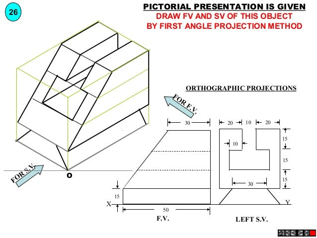 PICTORIAL PRESENTATION IS GIVEN DRAW FV AND SV OF THIS OBJECT BY FIRST ANGLE PROJECTION METHOD  26  FO R  ORTHOGRAPHIC PRO...