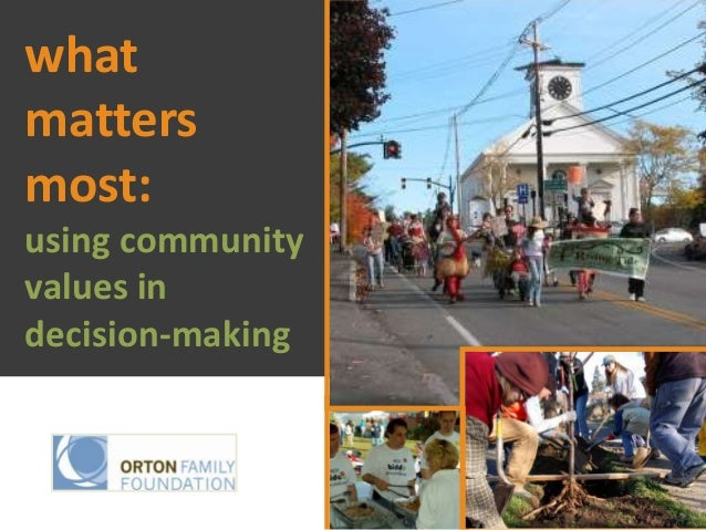whatmattersmost:using communityvalues indecision-making