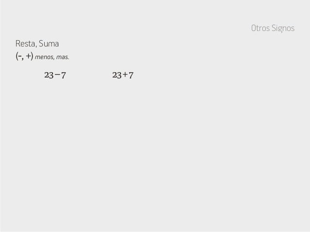 Otros Signos Resta, Suma 23+723–7 (-, +) menos, mas.