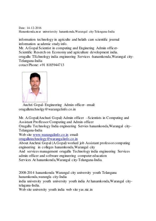 Date: 14-12-2016 Hanamkonda,near univerisrsity hanamkonda,Warangal city-Telangana-India information technology in agricult...