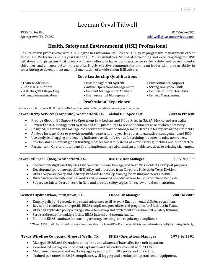 environmental health and safety plan template - orval tidwell resume june 2011