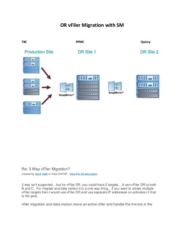 OR vFiler Migration with SM TBC  PPMC  Quincy  Re: 3 Way vFiler Migration? created by Scott Gelb in Data ONTAP - View the ...