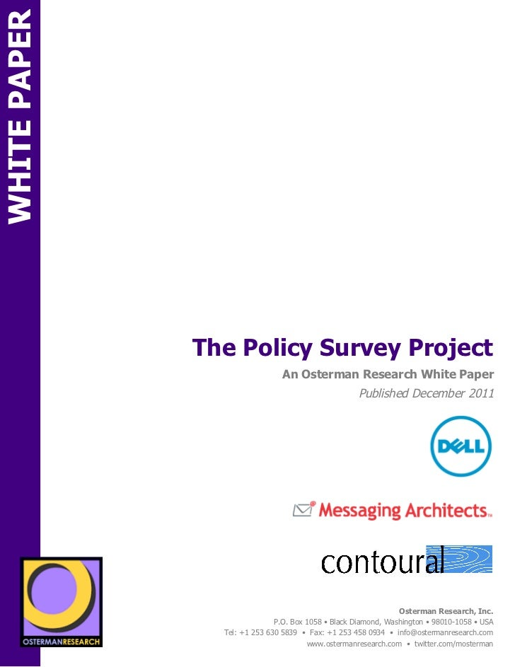 WHITE PAPER                                  The Policy Survey ProjectON                                                  ...