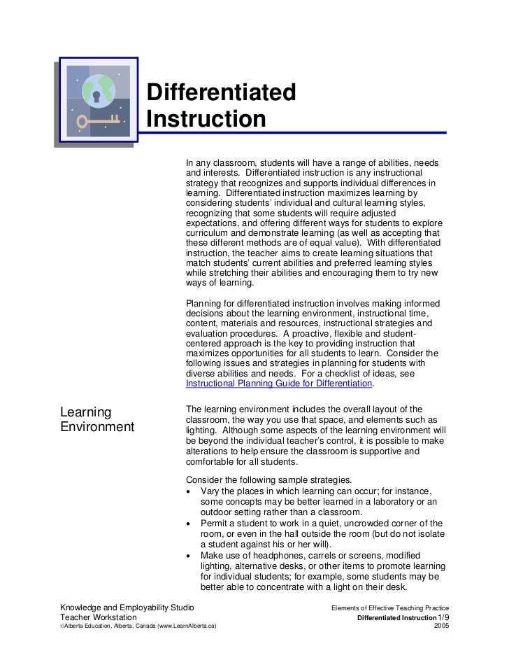 Differentiated                               Instruction                                             In any classroom, stu...