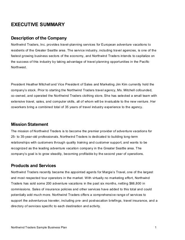 Business plan samples