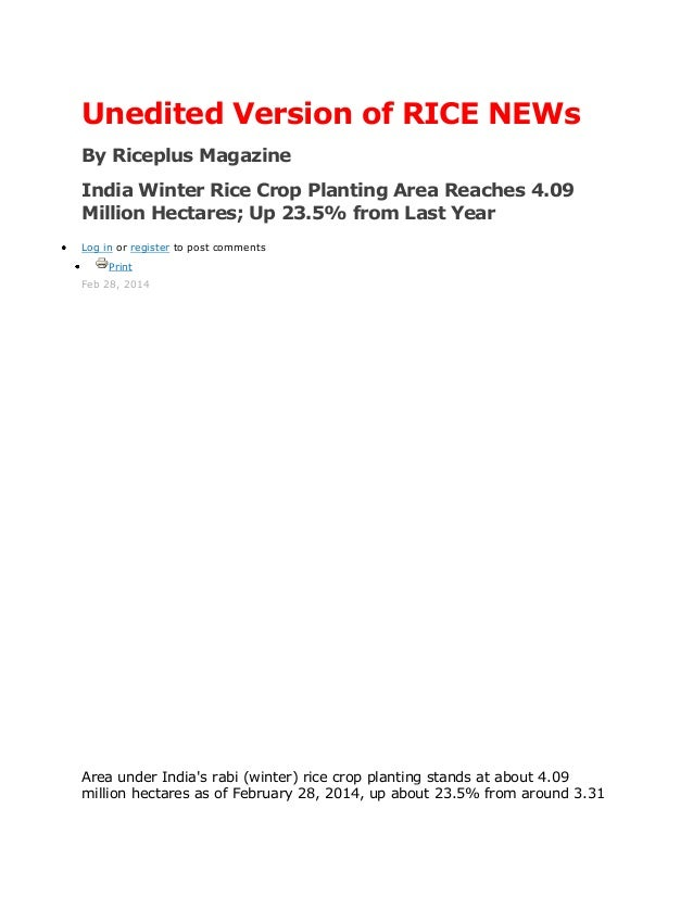 Unedited Version of RICE NEWs By Riceplus Magazine India Winter Rice Crop Planting Area Reaches 4.09 Million Hectares; Up ...