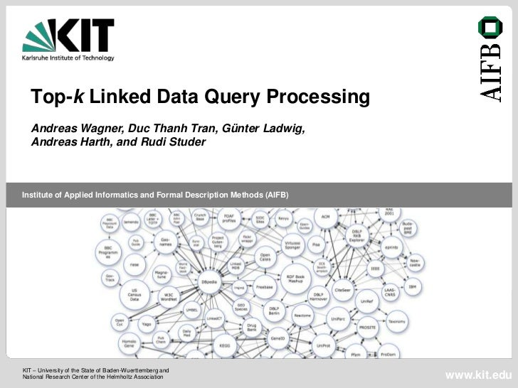Top-k Linked Data Query Processing   Andreas Wagner, Duc Thanh Tran, Günter Ladwig,   Andreas Harth, and Rudi StuderInstit...