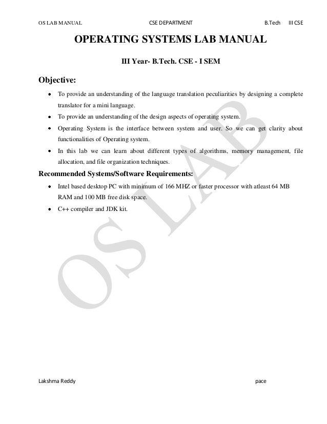 OS LAB MANUAL CSE DEPARTMENT B.Tech III CSE Lakshma Reddy pace OPERATING SYSTEMS LAB MANUAL III Year- B.Tech. CSE - I SEM ...