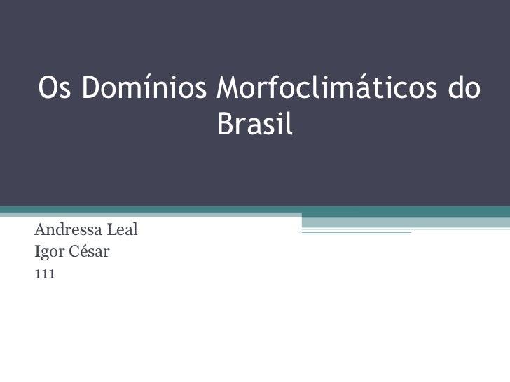 Os Domínios Morfoclimáticos do Brasil  Andressa Leal Igor César 111