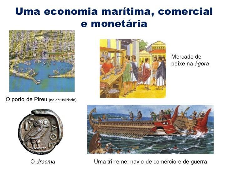 Uma economia marítima, comercial e monetária O porto de Pireu  (na actualidade) O  dracma Uma trirreme: navio de comércio ...