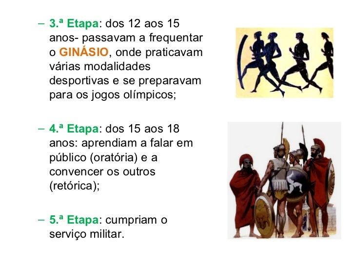 <ul><ul><li>3.ª Etapa : dos 12 aos 15 anos- passavam a frequentar o  GINÁSIO , onde praticavam várias modalidades desporti...