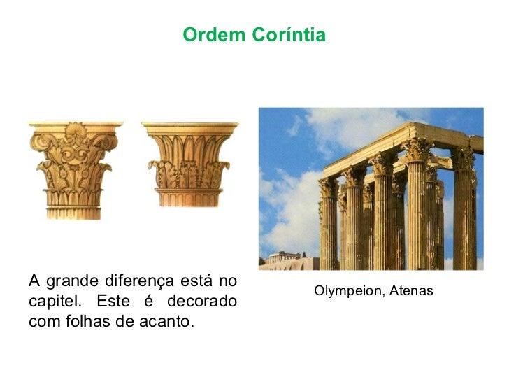 Ordem Coríntia Olympeion, Atenas A grande diferença está no capitel. Este é decorado com folhas de acanto.
