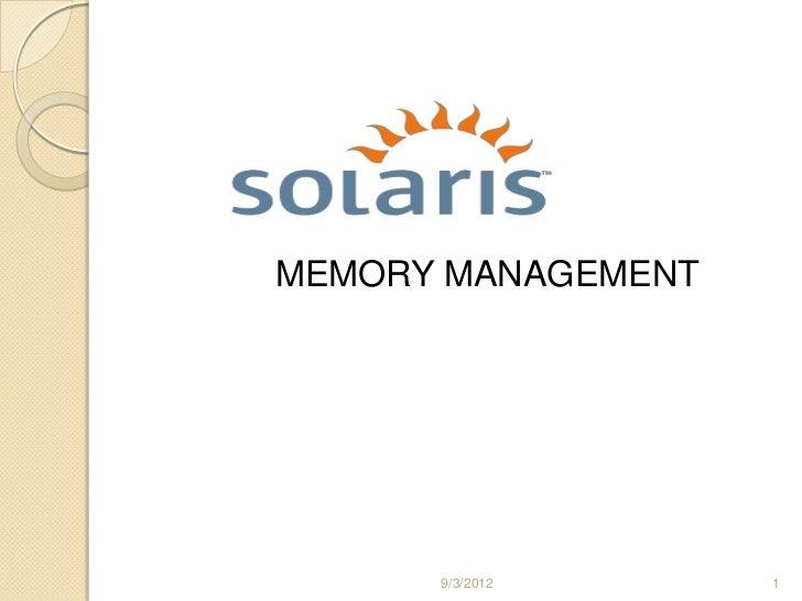 MEMORY MANAGEMENT      9/3/2012      1