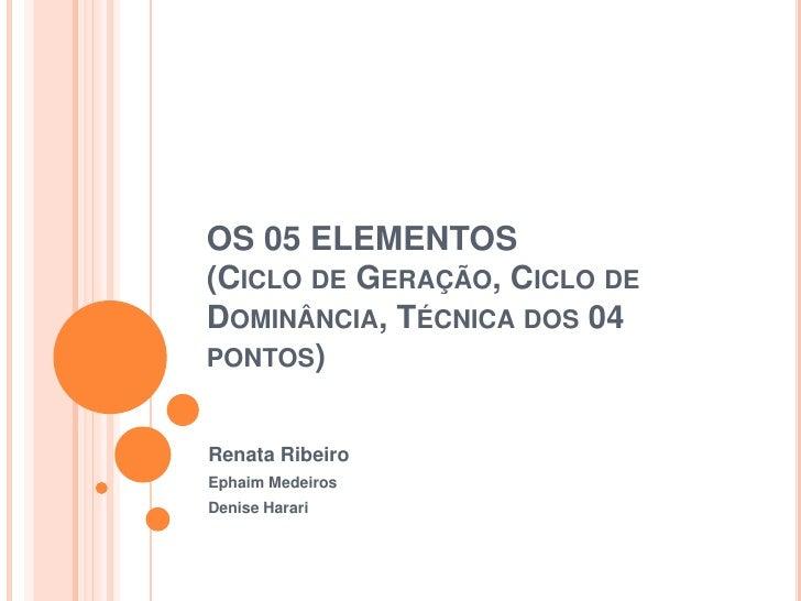 OS 05 ELEMENTOS(Ciclo de Geração, Ciclo de Dominância, Técnica dos 04 pontos)<br />Renata Ribeiro<br />EphaimMedeiros<br /...