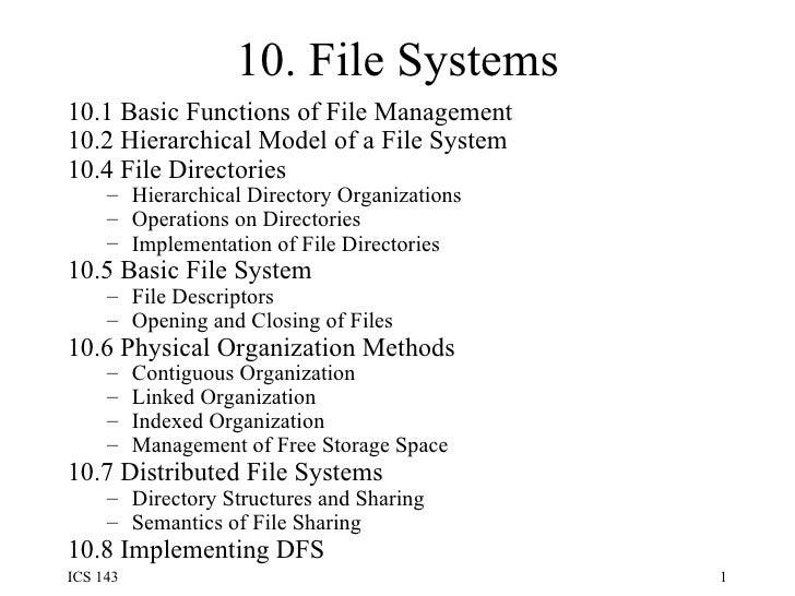 10. File Systems <ul><li>10.1 Basic Functions of File Management </li></ul><ul><li>10.2 Hierarchical Model of a File Syste...