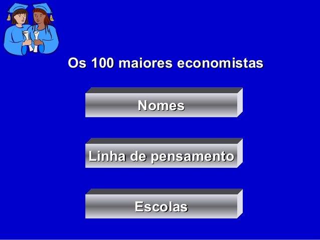 NomesNomes Linha de pensamentoLinha de pensamento EscolasEscolas Os 100 maiores economistasOs 100 maiores economistas