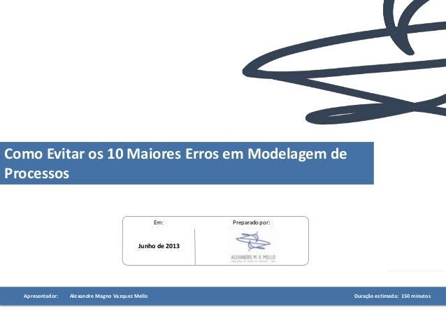Preparado por:Em: Junho de 2013 Apresentador: Alexandre Magno Vazquez Mello Duração estimada: 150 minutos Como Evitar os 1...