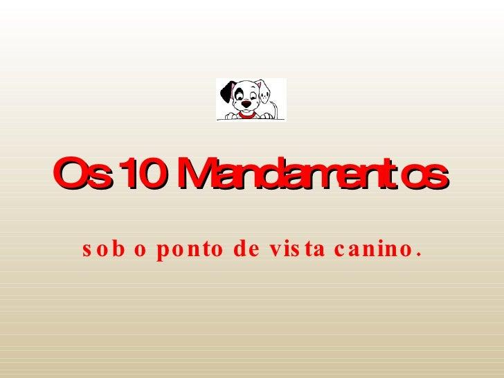 Os 10 Mandamentos   sob o ponto de vista canino.