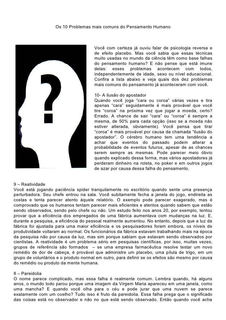 Os 10 problemas mais comuns do pensamento humano