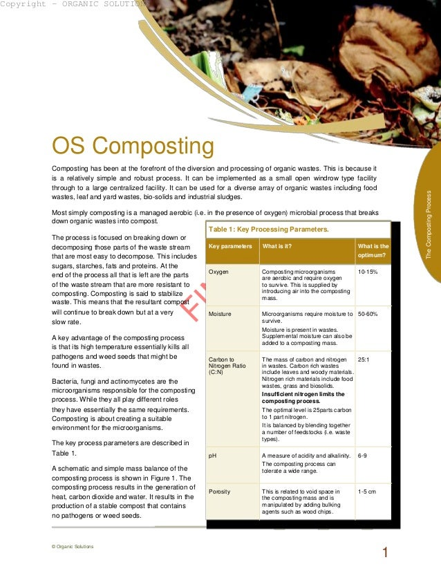 FIN AL OS Composting Composting has been at the forefront of the diversion and processing of organic wastes. This is becau...