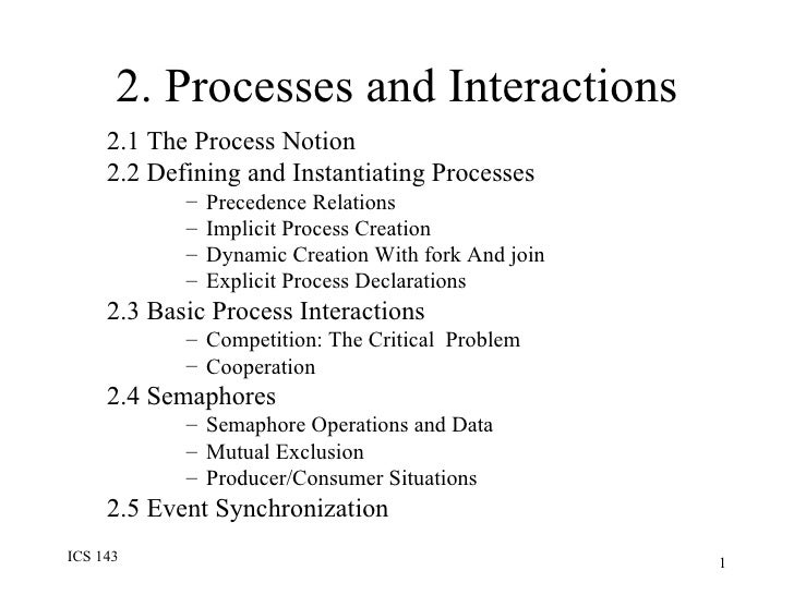 2. Processes and Interactions <ul><ul><li>2.1 The Process Notion  </li></ul></ul><ul><ul><li>2.2 Defining and Instantiatin...