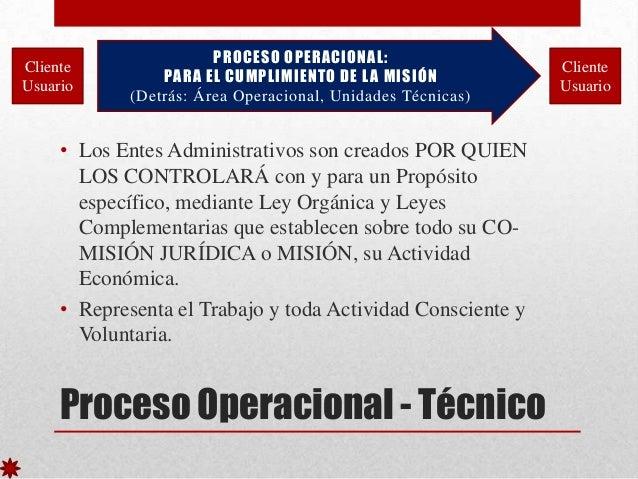 Cliente Usuario  PROCESO OPERACIONAL: PARA EL CUMPLIMIENTO DE L A MISIÓN (Detrás: Área Operacional, Unidades Técnicas)  • ...